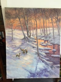 Vintage original oil painting Forest and Deers 科奎特兰