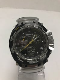 gray and black Tissot chronograph watch
