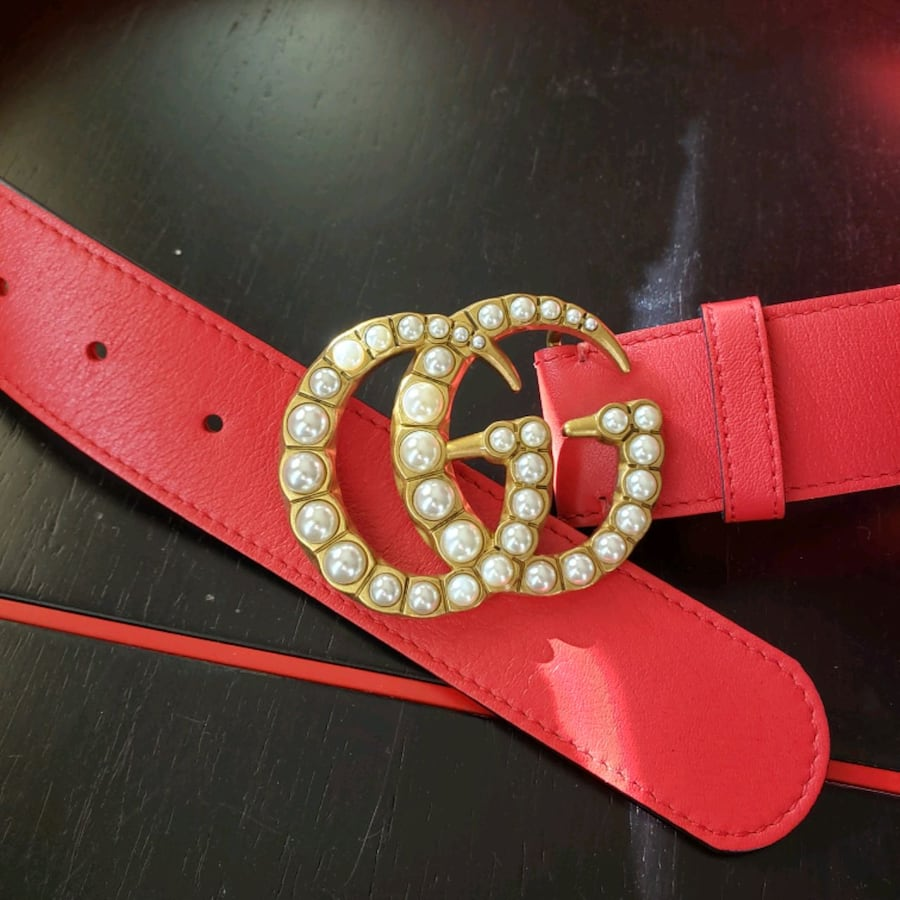 GG Gucci Red  leather pearl gold buckle 90 36 belt