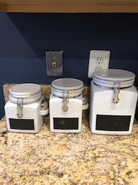 Crate and Barrel set of 3 clamp canisters with chalkboard Sterling, 20166
