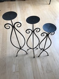 Set of 3 beautiful wrought iron candle stands