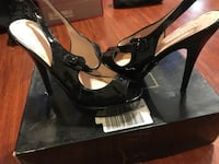 Pair of black patent leather open-toe ankle strap heels size 7.5 normal wear Bellflower, 90706