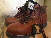 Pair of brown leather waterproof boots