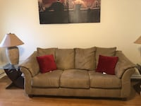 Suede Fabric 3-sofa  seat with throw pillows