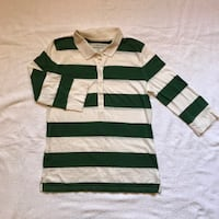 EUC Mossimo Forest Green/White 3/4 Sleeve Rugby Shirt - Juniors L Spring