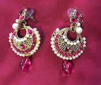 pair of silver-colored and red beaded earrings Toronto, M3J 1K6