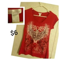 red and white v-neck shirt Lafayette