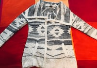 white and grey knit tribal print cardigan 549 km