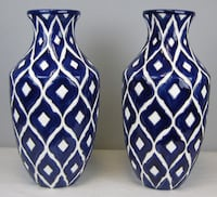 Pair of Blue and White Clay Vase Sterling