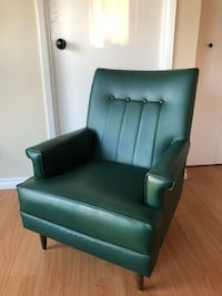 Mid century modern dark green feature chair faux leather New Westminster, V3M