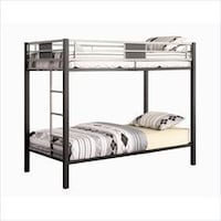 grey metal bunk bed framed with grey-and-white bed Washington, 20011