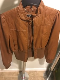 Brown guess leather full zip jacket