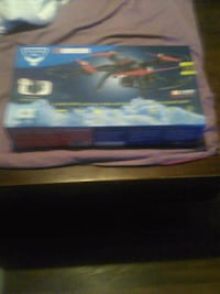 black and red quad copter drone box with Lexington