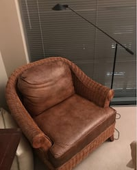 Ethan Allen Whicker Chair with Reptilian Print Leather Seating Cushions