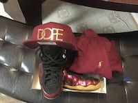 Maroon & gum foamposites size 10.5 Hat and Polo shirt to match Manassas, 20110