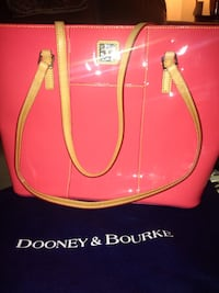 pink and brown Dooney and Bourke patent leather shoulder bag