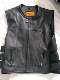 black leather zip-up vest