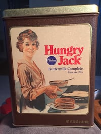 "Vintage Hungry Jack Pancake Mix Pillsbury Collectible Tin 8 3/4"" Tall Prattville, 36066"