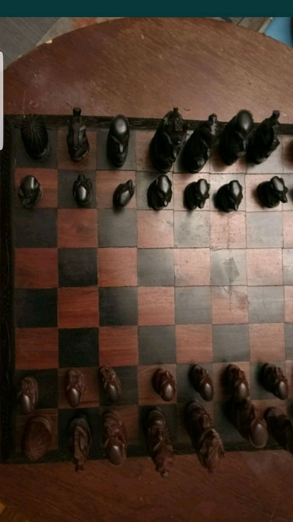 African wood complete chess board