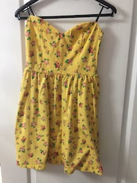 yellow, green and pink floral strapless mini dress Newmarket, L3X 1V2