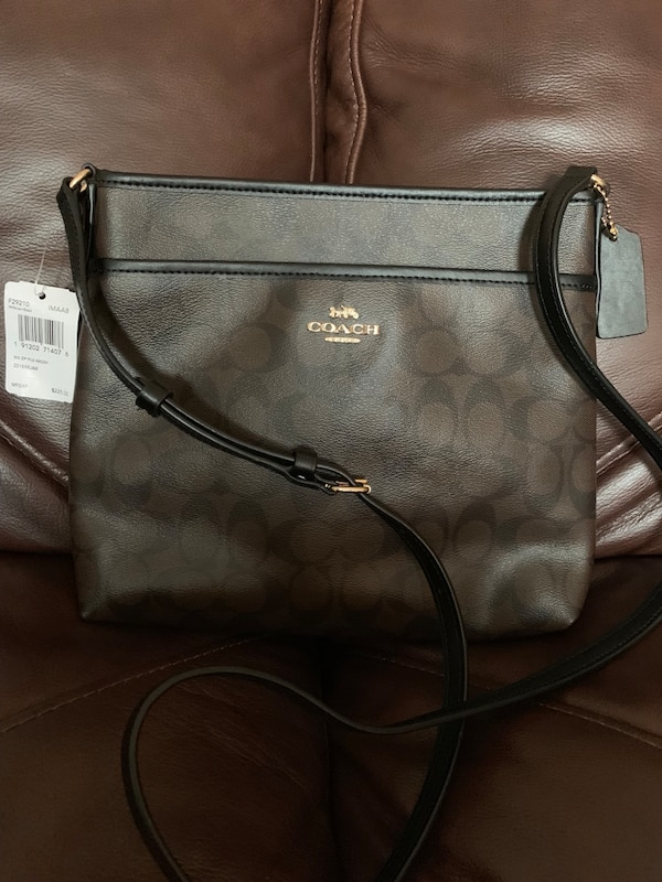 monogrammed gray Coach leather tote bag
