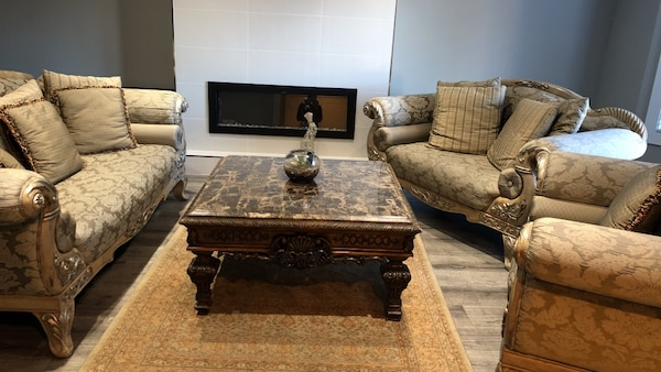 3 piece sofa set with 2 tables