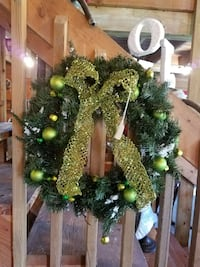 gold-colored and green with baubles and bow wreath Machesney Park, 61115