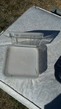 Glass square  dish with cover