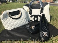 black and white leather tote bag Montréal, H4A
