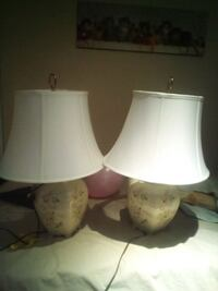 two white ceramic base table lamps London, N6E 2B2