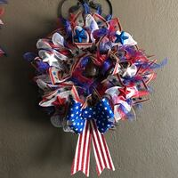 Patriotic mesh wreath with lights Norwalk, 90650