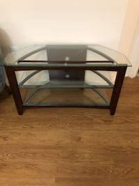 TV stand with wood and glass