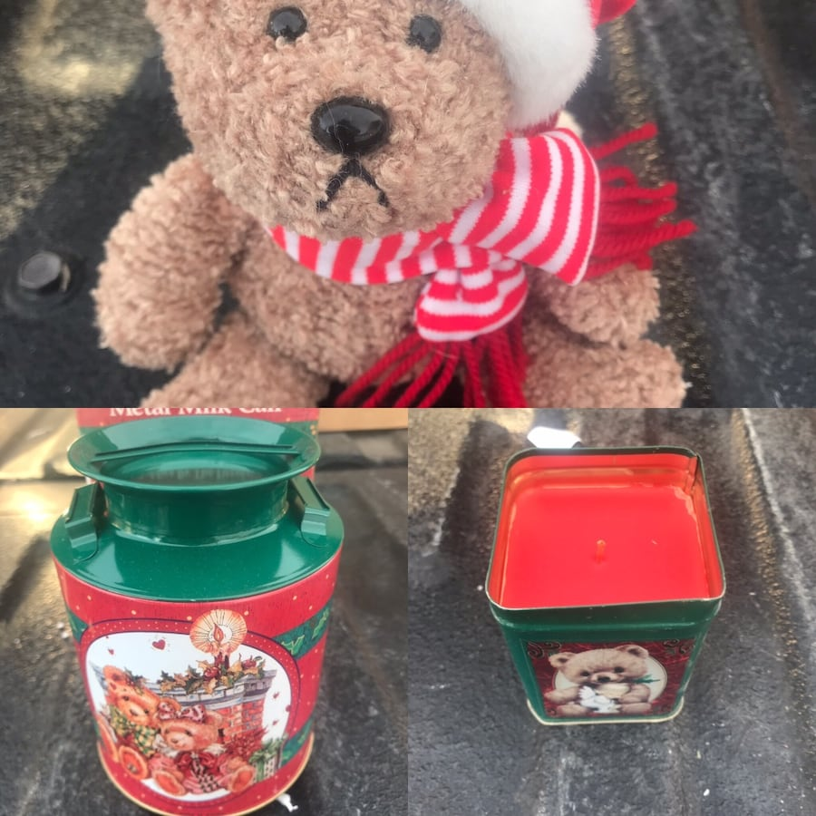 New Collectors TEDDY BEAR , CANDLE & MILK CAN