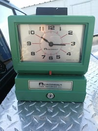 blue and silver Acroprint Time Recorder Co. clock Bakersfield, 93308