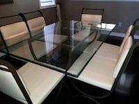 Glass & iron table with 6 cream leather & chairs Vaughan, L4K 4R1