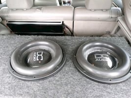 gray and black  DC audio level 5'subwoofer speaker