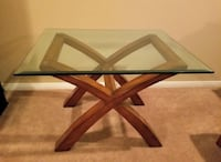 Beautiful brown glass wood end table
