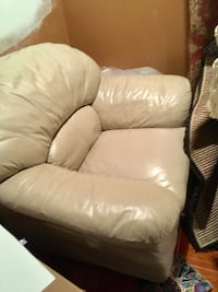 Leather chair - cream/tan