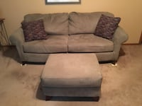 Sage green Love Seat, Couch and Ottoman all for 600, will sell separate if interested.