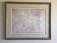 Antique looking map of Caribbean in custom framing Vancouver, V6H 3R2