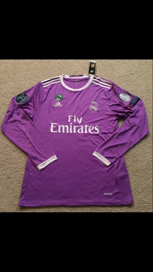 the best attitude 2284f 635c8 Real Madrid Champions League RONALDO Soccer Jersey Long Sleeve #7 purple  2016 / 2017