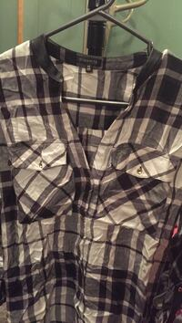Brand New Dynamite black and white plaid leather collar blouse size Small  Oshawa, L1H 6P6