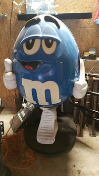 blue and white M & M toy