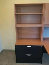 brown wooden 3-layer shelf with 2 drawers/file cab Arlington