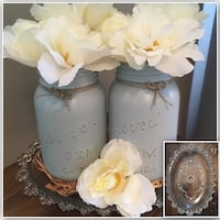 Vintage glass tray w robins egg blue chalk painted mason jars! Edmonton, T5M 0V9