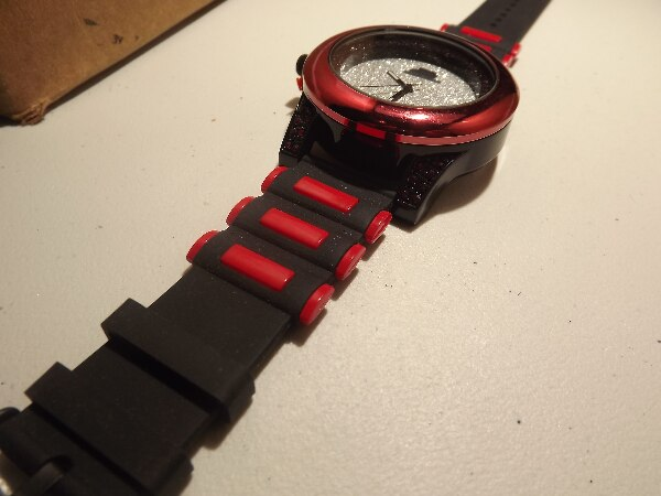 Black and Red Bullet Band Iced Watch