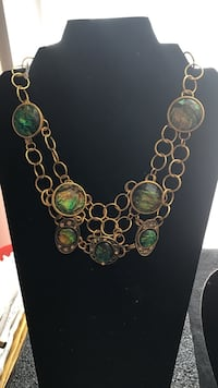 green, brown, and black polished stones pendants with gold chain link necklace 21 mi