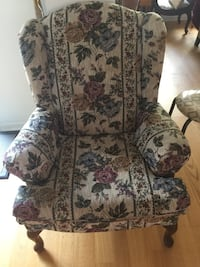 gray floral wing chair Pickering