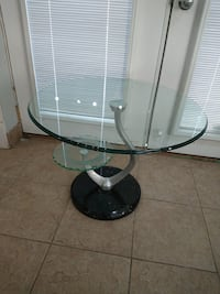 New End table round glass with marble base Guelph, N1K 1A8