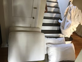 White Couch cushions & slip cover for sofa sleeper perfect condition